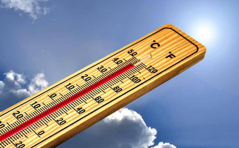 thermometer showing 45°C in summer